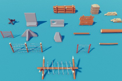 Low Poly Barriers Pack Free