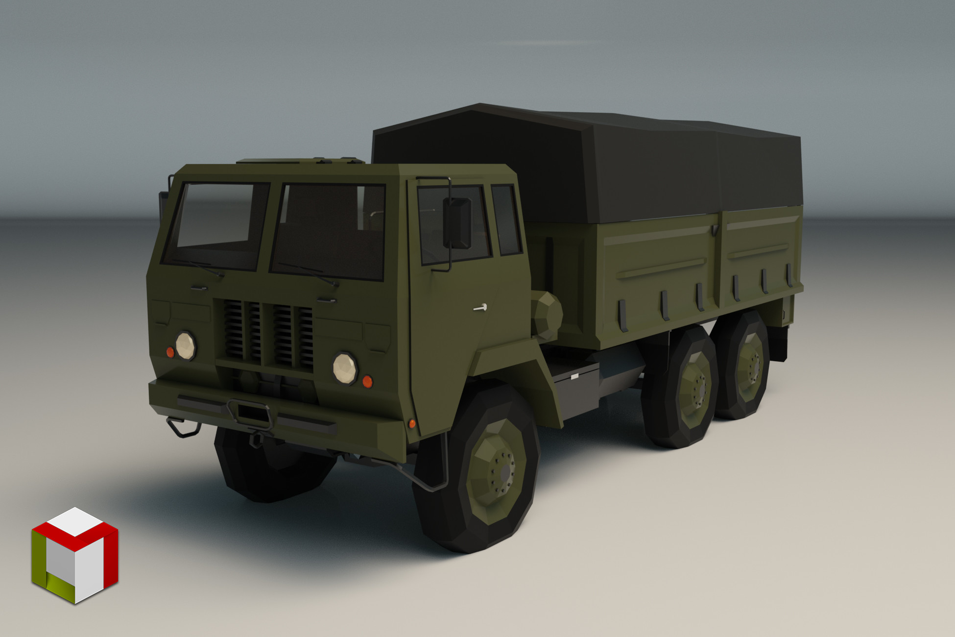 Low Poly Military Truck 04