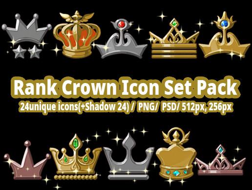 Rank Crown Icon Set Pack
