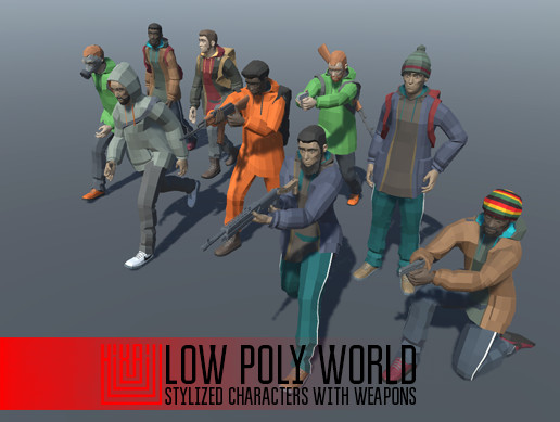 LOW POLY WORLD - STYLIZED CHARACTERS WITH WEAPONS
