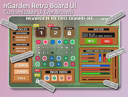 nGarden Retro Board UI (Brown)