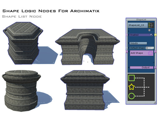 Shape Logic Nodes for Archimatix