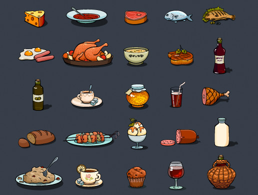25 Cartoon Food Icons Game Set