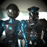 Sci fi humanoid robot pack with weapon