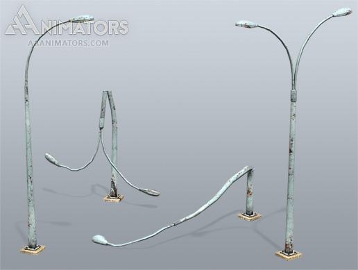 Low Poly Light Poles 01