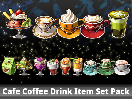 Cafe Coffee Drink Item Set Pack