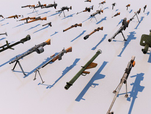 Pack Of 39 low poly game ready weapons rifles arms