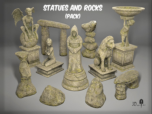 Statues and rocks (pack)