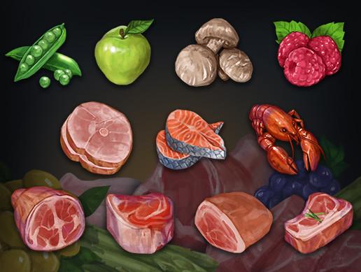 Food Set: vegetable, fruit, meat
