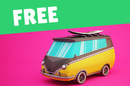 FREE - Surfer Mini Van with Cartoon Style Option