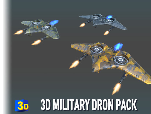 3D Military Drone PACK