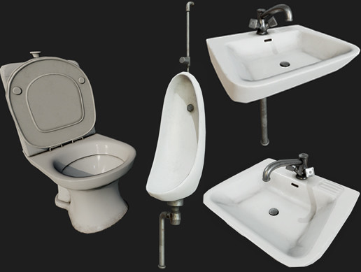 Dirty Toilet Props PBR
