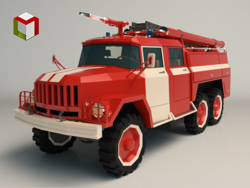 Low Poly Fire Truck 03