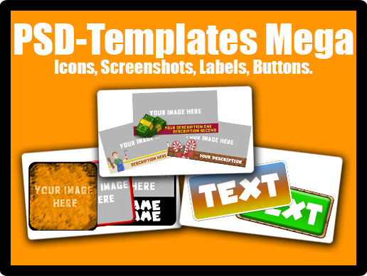 PSD Templates Mega Pack - Icons, Screenshots, Labels, Buttons