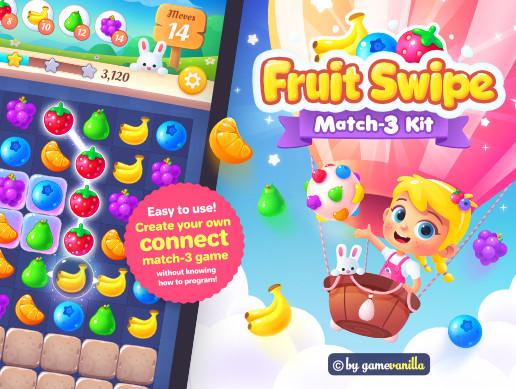Fruit Swipe Match 3 Kit .PSD Sources Pack