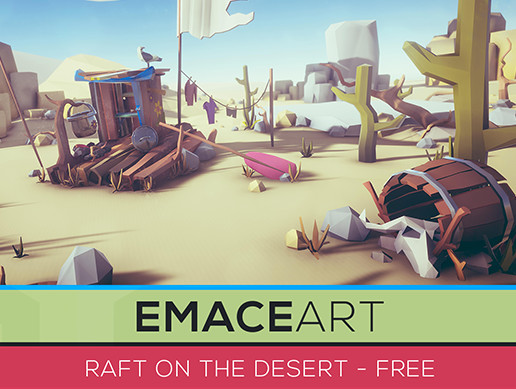 LOW POLY Raft on the desert