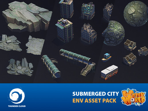 Water World Submerged City Asset Pack - Full package Unity