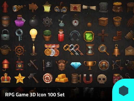 3D Models Prop RPG 100 Set Pack