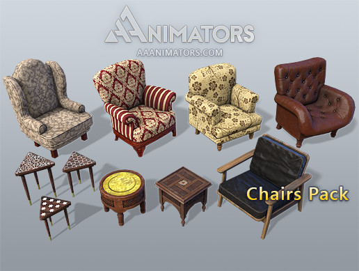 Low poly Chairs pack