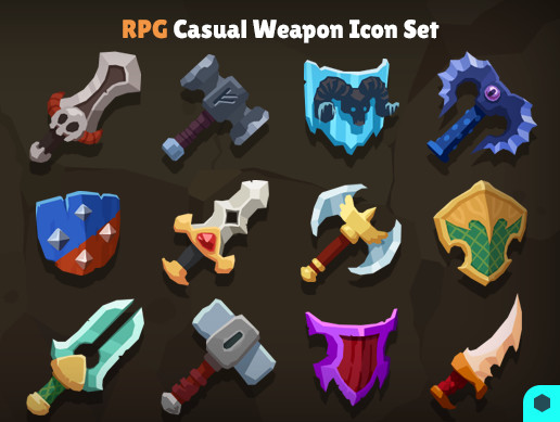 3D RPG Casual Weapon Icon Set