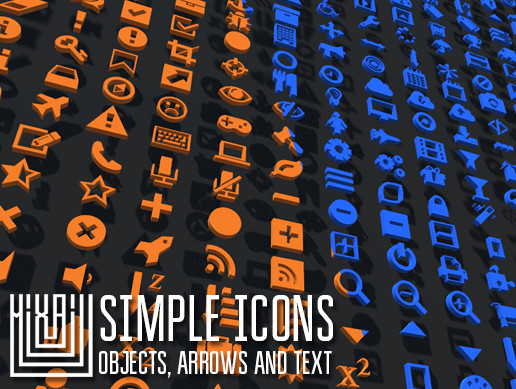 Simple icons - objects, arrows and text