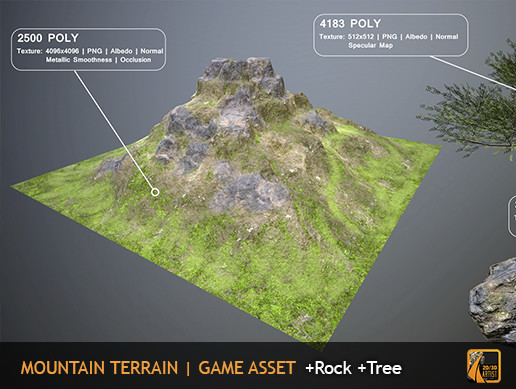 Mountain Terrain + Rock + Tree - Asset Store