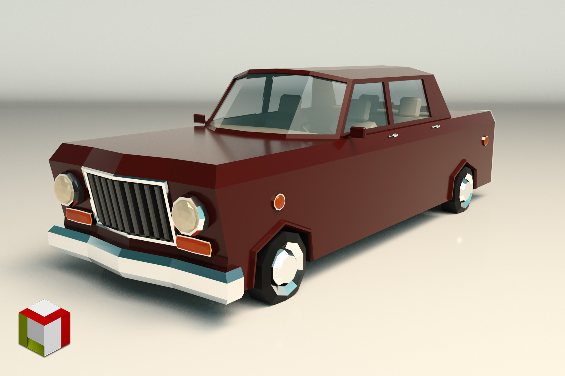 Low Poly Sedan Car 08