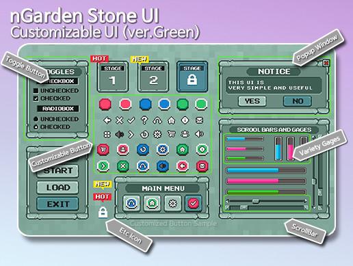 nGarden Retro Stone UI (Green)