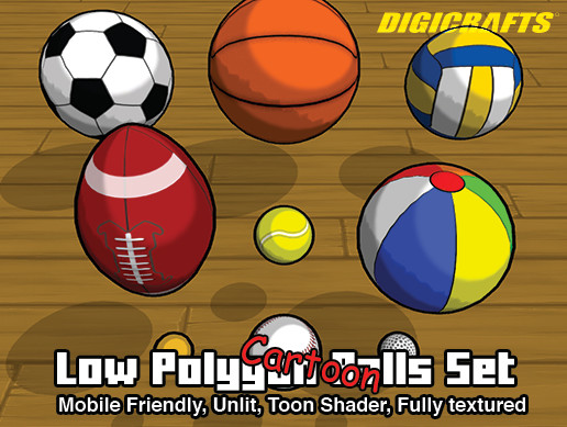 Low Polygon Cartoon Sport Balls Set 3d Unity Asset Store