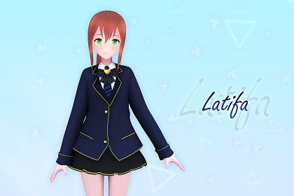 Latifa V2 3D: Free Anime Style Character (Game-Ready/VRChat)