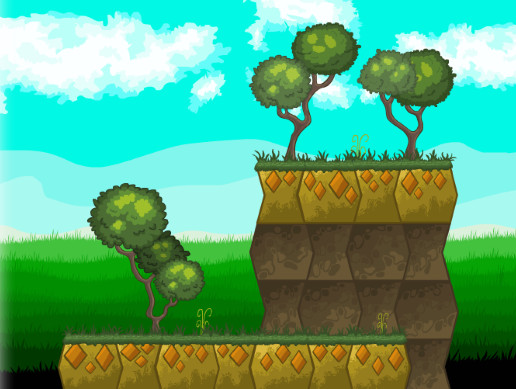 Tile Platformer (Terrestrial Platform with Grass and Trees)