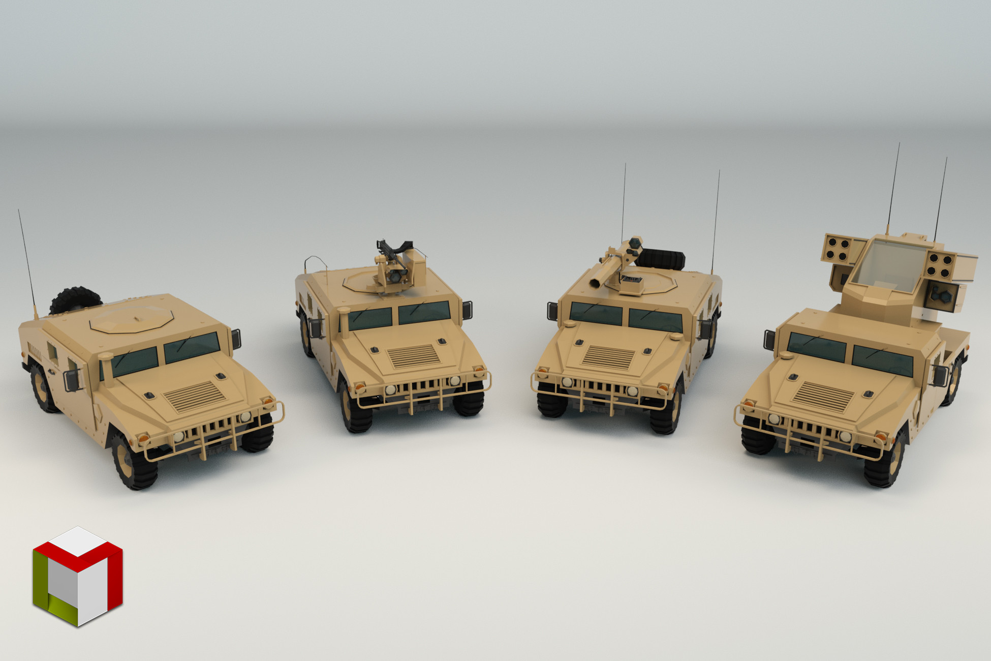 Low Poly Military 4x4 Pack