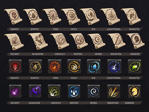 Rune and Scroll Icons