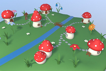 Cartoon Mushroom Village
