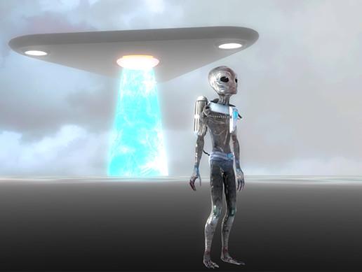 Area 51 Alien - Bioluminescent Alien and UFO
