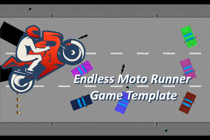 Endless Runner Style Moto Racer Complete Game Template