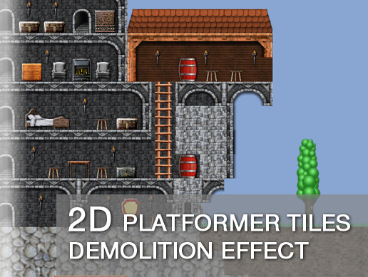 2D Platformer Tiles Demolition Effect
