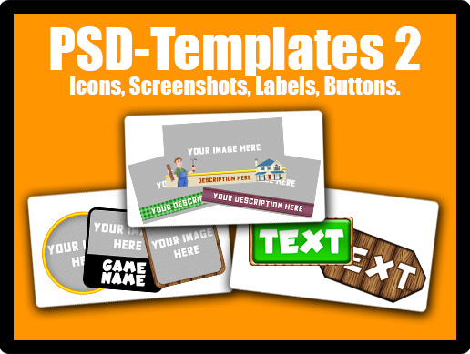 PSD Templates Pack 2 - Icons, Screenshots, Labels, Buttons