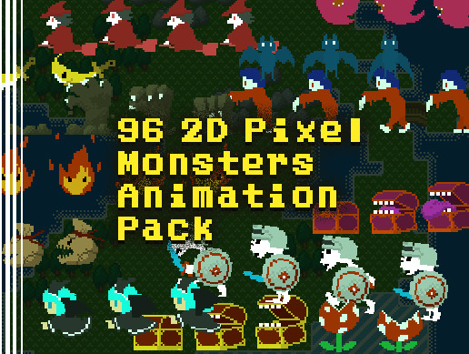 96 2D Pixel Monsters