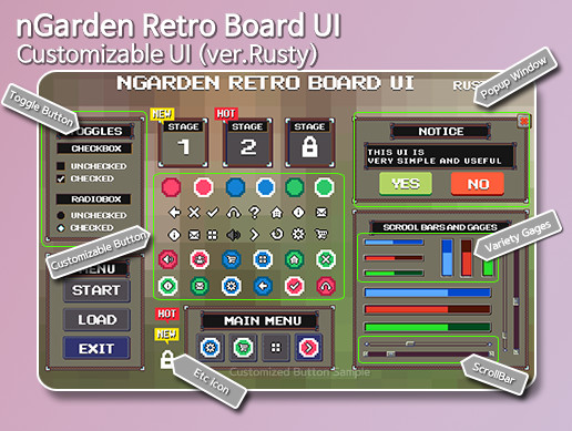 nGarden Retro Board UI (Rusty)