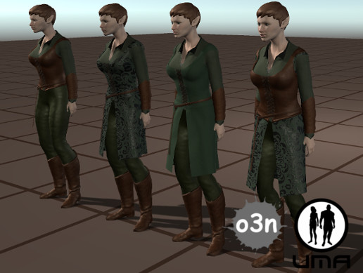 Base UMA Female Elven Clothing Set