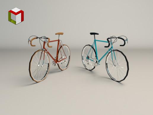 Low Poly Vintage Racing Bike