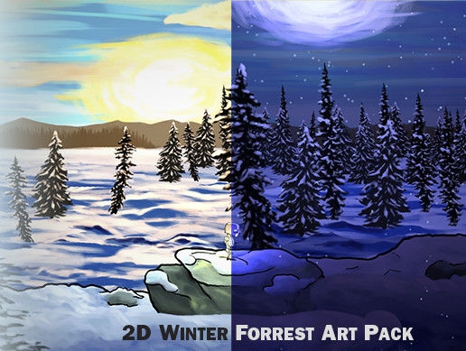 2D Winter Forest 4K Art Pack. Hand Drawn, Pastel Style!