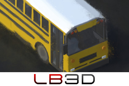 School Bus, Simple, Isometric