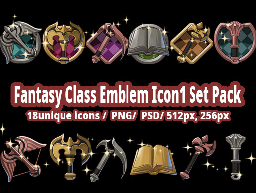 Fantasy Class Emblem Icon2 Set Pack