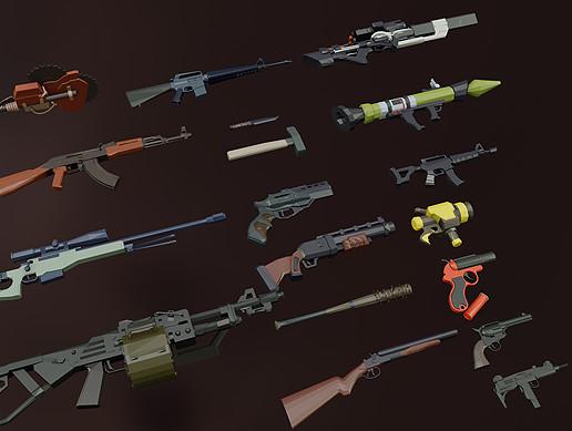 1UP LOWPOLY - Gun Pack