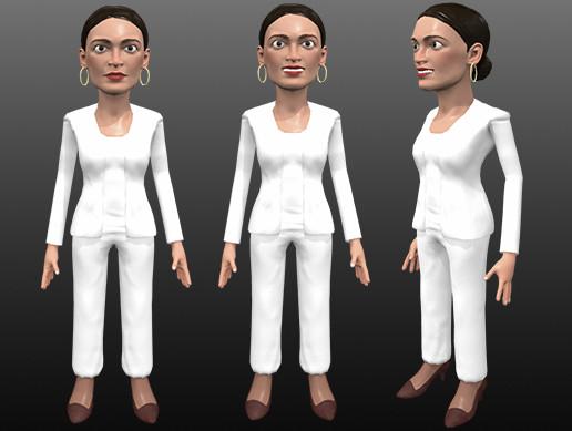 AOC stylized 3D caricature