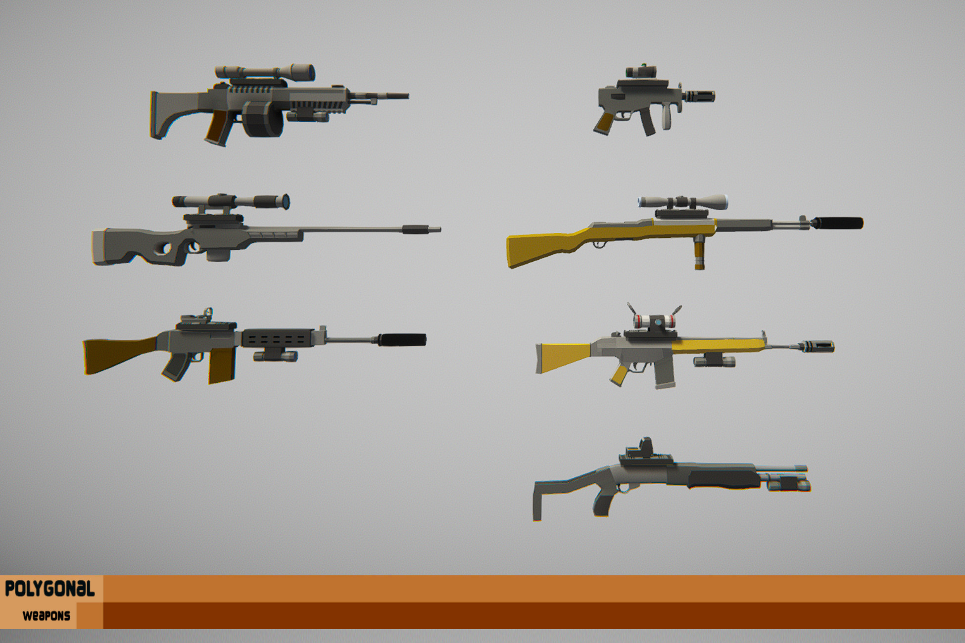 Polygonal Modern Weapons Asset Package