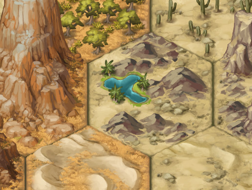 Painted 2D Terrain Hexes: Deserts