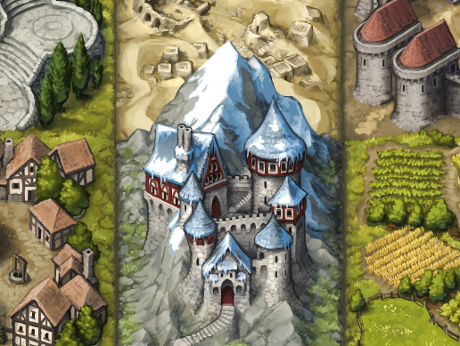 Painted 2D Location Tiles: Medieval-Fantasy